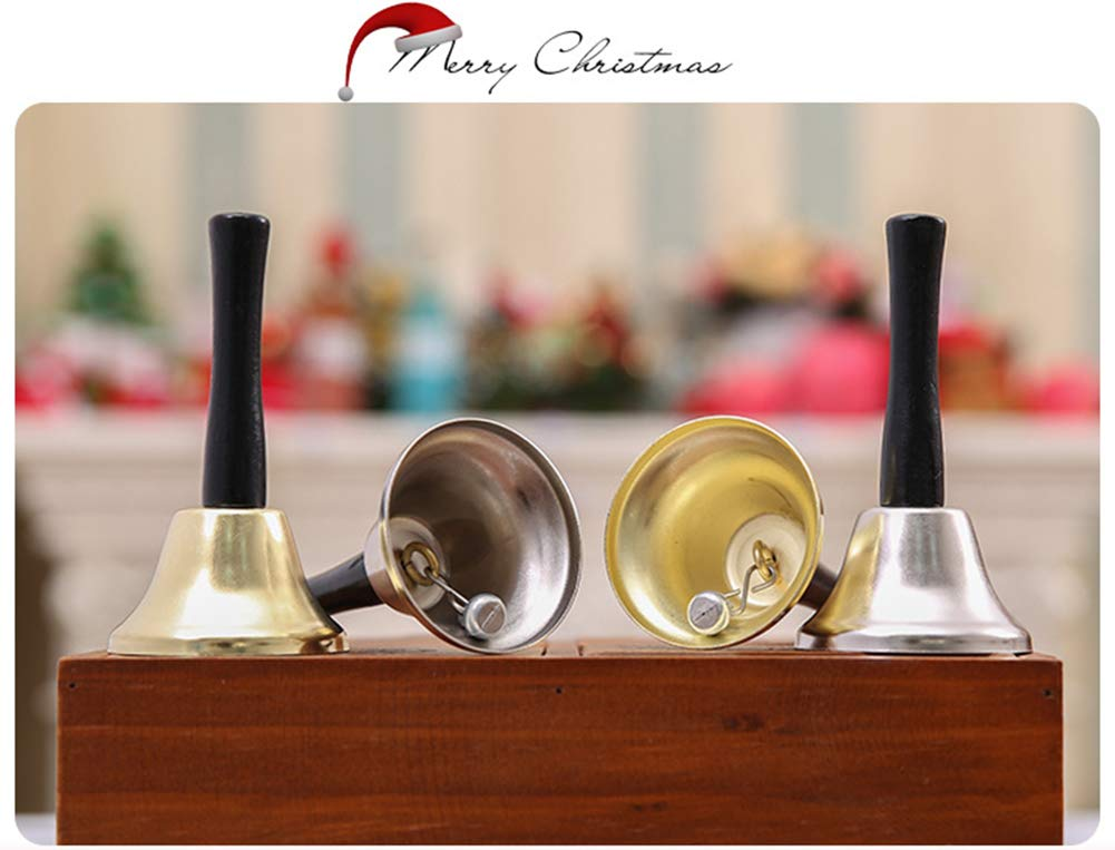 Metal Hand Held Loud Call Service Bell Santa Claus Rattle Christmas Hand Bells Tea Hand Bell Gold