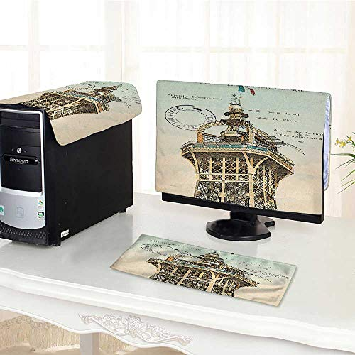 Auraisehome One Machine LCD Monitor Keyboard Cover Decor Collection Vintage Postcard with Eiffel Tower in Paris France 1910 Rare Antique dust Cover 3 Pieces /22