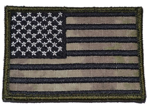 ATACS AU USA American Flag 2x3 Military Patch / Morale Patch Forward Facing - Black Stitching
