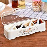 GuiXinWeiHeng 3pcs Clamshell four grid seasoning box seasoning boxes with scoop transparent condiment tank plastic kitchen spices box