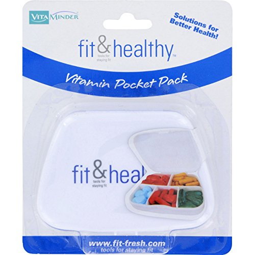 Fit and Healthy VitaMinder Vitamin Pocket Pack - Five Compartments Holds Up To 60 Tablets - 1 Case (Pack of 3)