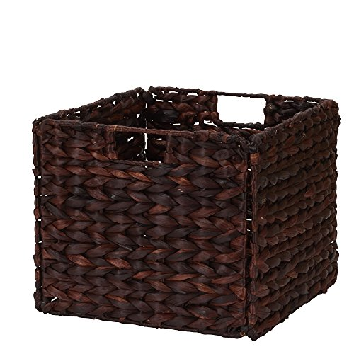Household Essentials Wicker Open Storage Bin for Shelves, Dark Brown (Dark Wicker Basket)