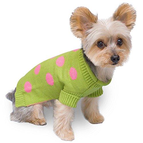 Stinky G Lime Green Dog Pet Sweater Pink Polka Dot (#08 - XS) ()