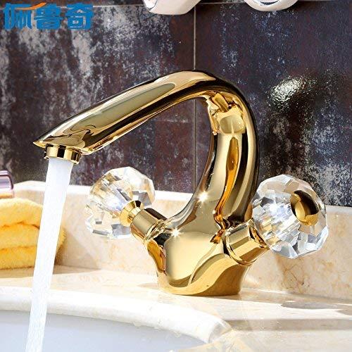 JingJingnet 洗面器ミキサータップ浴室のシンクの蛇口シングルホールヨーロッパ風ゴールデン盆地ホットとコールドの銅の完全盆地アンティーククリスタルダブル蛇口 (Color : 2) B07RWZZJ8J 2