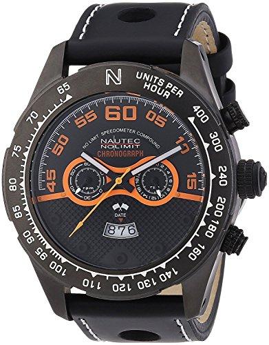 Nautec No Limit MZ QZ/LTGMBK - Men's Watch, Leather, Color: Black