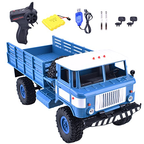 Remote Control Car 1/16 2.4G 4WD RC Military Truck Crawler Off Road Car Terrian Climber Vehicle Model Toy with Rechargeable Battery (Blue)