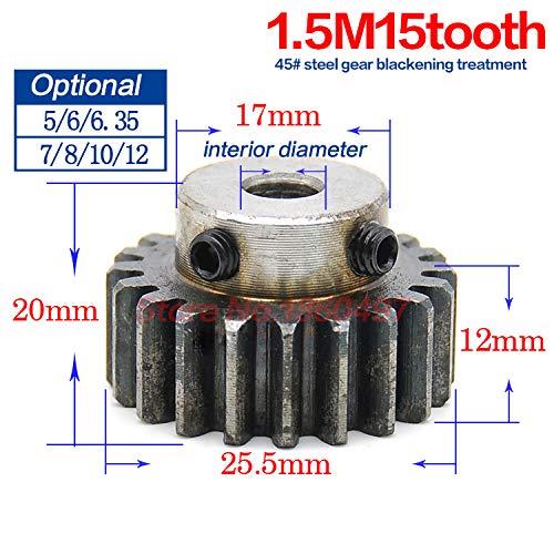 Fevas Steel Metal Spur Different Main Gear 1.5Mod 15T Motor Pinion Gears Bore 5mm 6mm 6.35mm 7mm 8mm 10mm 12mm 45 Steel CNC Gear - (Number of Teeth: 15 Teeth, Hole Diameter: 6.35mm)