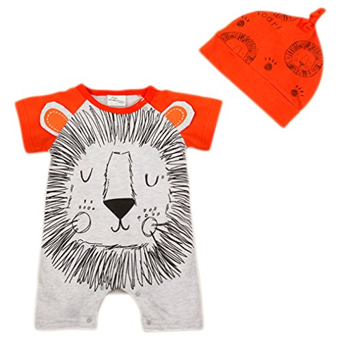 [StylesILove Newborn Infant Toddler Cute Animal Baby Costume Jumpsuit and Hat (70/3-6 Months, White] (Lion Newborn Costumes)