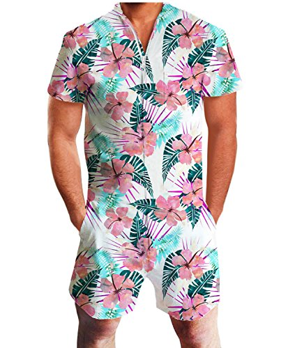 Idgreatim Men Hawaiian Jumpsuit Bust Pocket Short Sleeve 3D Graphic Rompers Overalls One Piece Outfits -