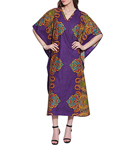 Indian-Cotton-Comfortable-Maxi-Dress-Printed-Floral-Casual-Night-Wear-Gifts-for-Her-Purple