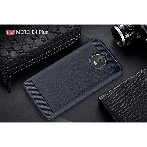 Roi Boutique Motorola Moto E4Plus TPU Case carbone fibre optique Brushed Coque Bleu