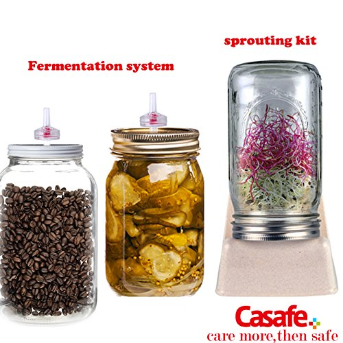 Fermentation Pickle Tools Kit-Waterless Silicone Lids and One-Way Valves for Wide Mouth Ball or Kerr Mason Jars Top CASAFE+