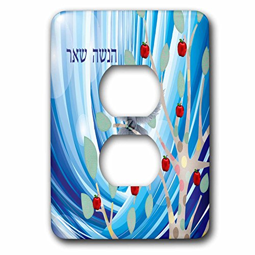 - 3dRose lsp_202204_6 White Dove In Apple Tree, Blue Abstract, Rosh Hashanah In Hebrew 2 Plug Outlet Cover Multicolor