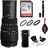 Sigma 70-300mm f/4-5.6 DG Macro Telephoto Zoom Lens for NIKON DSLR Camera w/ 32gb Photo Bundle