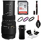 Sigma 70-300mm f/4-5.6 DG Macro Telephoto Zoom Lens for NIKON DSLR Camera w/32gb Photo Bundle