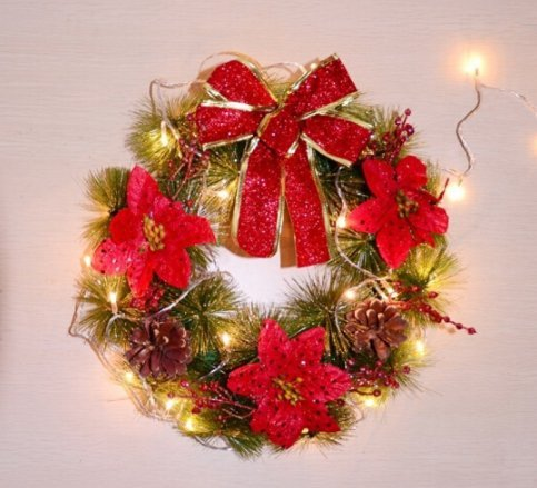 Christmas wreath 30cm Christmas decorations hotel arcade door hanging scene decorate red garland (With lights)