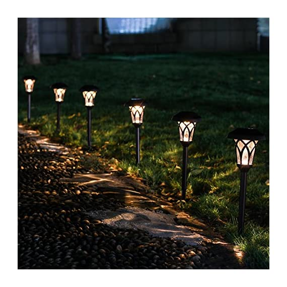 GIGALUMI Solar Pathway Lights Outdoor, 6 Pcs Super Bright High Lumen Solar Powered LED Garden Lights for Lawn, Patio, Yard. - High LUMENS: Much brighter than other cheap pathway lights. Each solar-powered path light has a super-bright warm white LED lights for clear, brilliant illumination BRONZE FINISH METAL: Looks noble and elegant, adds a special flair to your lawn, garden, yard or patio. TIER RIPPLE GLASS LENS: Glass len has excellent clarity for light compare to plastic, it creates vivid and attractive pattern. - patio, outdoor-lights, outdoor-decor - 51bv XmEwSL. SS570  -