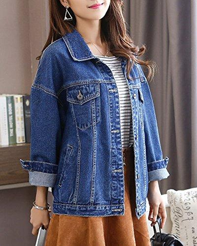 Scuro Jeans Denim Sciolto Jacket Manica Lunga Donna Capispalla Minetom Cappotto Causale Lavato Pulsante Ragazze blu Moda B Strappato Giacca Classico BHn6wqf