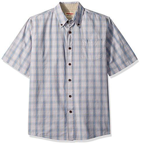 Mens Plaid Button Shirt (Wrangler Authentics Men's Short Sleeve Classic Plaid Shirt, Pumice Stone, XL)