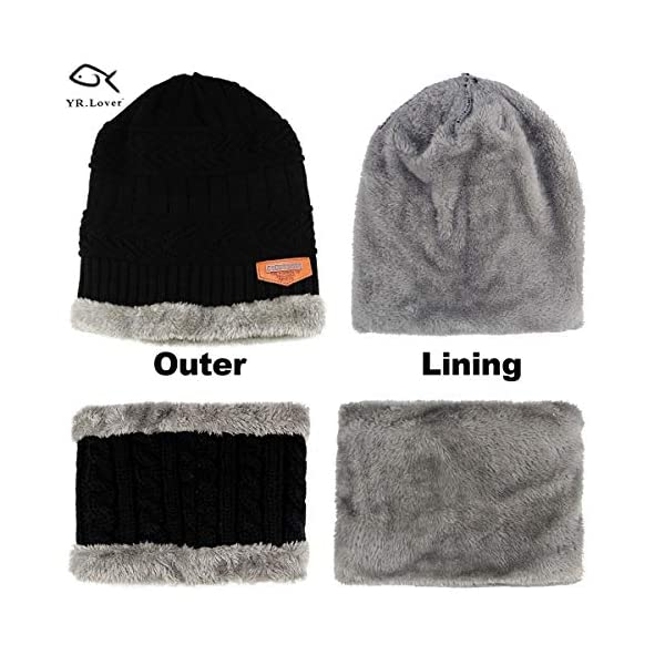 YR.Lover Kids Winter Warm Hat and Scarf Knitted Hat with Soft Fleece Lined Beanie Cap for Children Boys or Girls