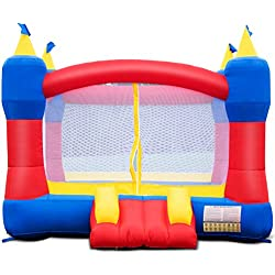 Costzon Inflatable Bounce House, Castle Jumper Slide Mesh Walls, Kids Party Jump Bouncer House w/Net, Carry Bag Without Blower (Rocket Castle)