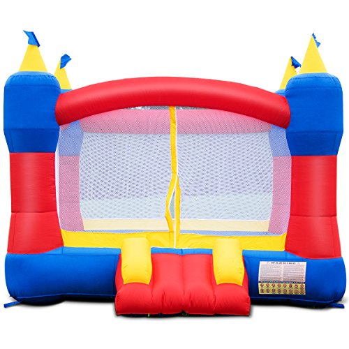 Costzon Inflatable Bounce House, Castle Jumper Slide Mesh Walls, Kids Party Jump Bouncer House w/Net, Carry Bag Without Blower (Rocket Castle)