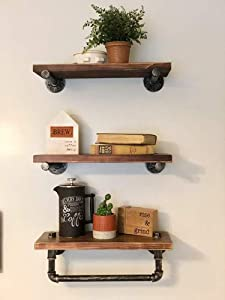 Industrial Bathroom Shelves Pipe Wall Shelf with Rustic Wood Shelving for Towel Shelf Storage Wall Mounted Floating Shelves Home Kitchen Bathroomshelve(3-Tiers)