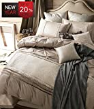 Luxury Duvet Cover Set King Size European Style Vintage Solid Champagne Bedding Set with 2 Pillow Shams, Hotel Quality Silk Classic Design Soft Elegant Romantic Bedding Sets by LifeTB