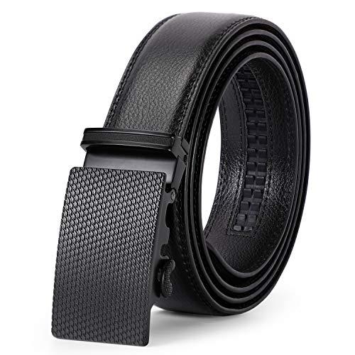 Men Slide Buckle Click Belt for Dress, Comfortable Ratchet Leather Belts for Business Suit
