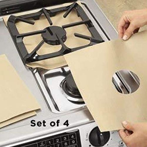4x Gas Stove Protectors Cover//Liner Reusable Non Stick Silicone Dishwasher Safe