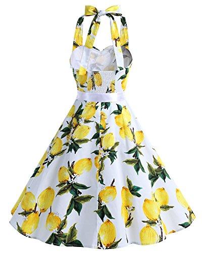50 Bbonlinedress anni Style Donna Hepburn 1950s Audrey Vestito Rockabilly Cocktail Limone CqtfqwZ6r
