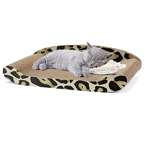 Delxo Cat Scratcher Durable Reversible Cat Scratching Pad Recycled Harden Corrugated Cardboard Sturdy Eco-Friendly Design Maintain Healthy Cat Claws (Cat Sofa) (Scratcher Sofa) ()