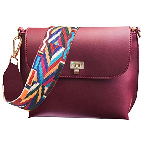 Crossbody Pink Women For Purse PU Colorful Bag Bag Strap Leather Donalworld 4qEvx76