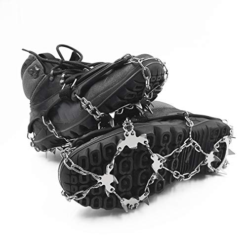 ROCONTRIP Traction Cleats Ice Snow Grips Anti Slip Stainless Steel Spikes Crampons for Footwear M/L/XL (L)