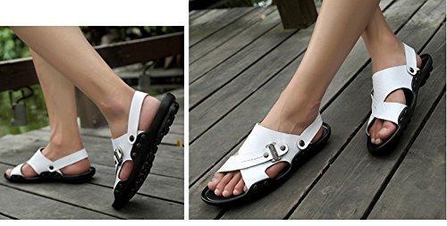 Hw-goods Mens 2 Sandali Moda Casual In Morbida Pelle Pantofola Slipper Bianchi
