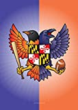 Citizen Pride Birdland Baltimore Raven and Oriole Maryland Crest House Flag by Joe Barsin 28 x 40-Inch Decorative USA-Produced