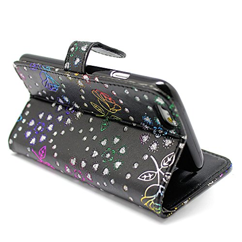 Kamal Star® Apple iPhone 6 6S Rose Black Diamond Book PU LEDER CASE COVER HÜLLE ETUI TASCHE SCHALE + STYLUS