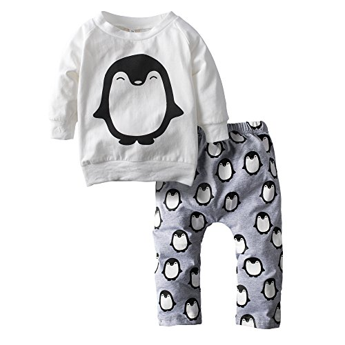 Big Elephant Baby Boys 2 Piece Penguin Long Sleeve Pants Clothing Set H11 6-12 Months White (Baby Santa Outfit For Boy)