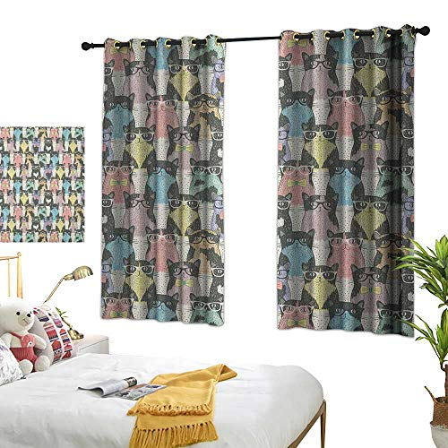 LsWOW Bedroom Curtains W72 x L63 Funny Cartoon,Playful Hipster Cats with Glasses Colorful Clip Art Dotted Designed Print, Multicolor BedroomRoom Darkening,Blackout Curtains Room/Kid's Room ()