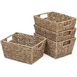 Best Choice Products Seagrass Multipurpose Stackable Storage Laundry Organizer Tote Baskets for Bedroom, Living Room, Bathroom with Insert Handles, Set of 4