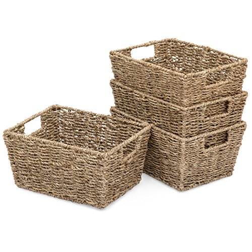 Best Choice Products Set of 4 Multipurpose Stackable Seagrass Storage Clothing Laundry Baskets for Bathroom, Home Organization w/Insert Handles - -