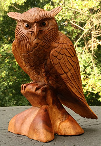Hand Carved Wood Statue (G6 COLLECTION Large Solid Wooden Handmade Owl Statue Handcrafted Figurine Art Home Decor 12