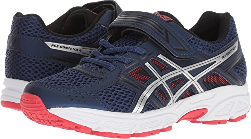 Image of the ASICS C709N Kid's PRE-Contend 4 PS Running Shoe, Deep Ocean/Silver - 2.5
