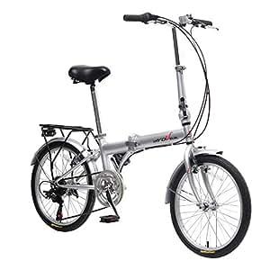 EBS Folding Bicycle City Bike Shimano Gear 6 Speed Compact Foldable Commute Bike Wanda Tire, Silver