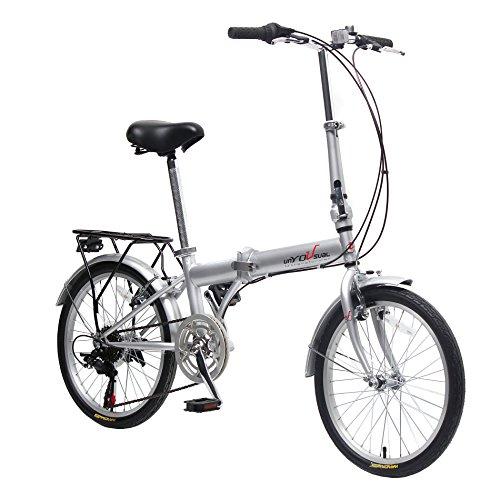 Review EBS Folding Bicycle City Bike Shimano Gear 6 Speed Compact Foldable Commute Bike Wanda Tire, Silver
