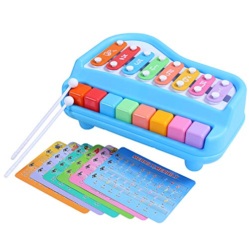 (SGILE Musical Baby Toy, 2 in 1 Piano Xylophone with 8 Keys, Colorful Musical Instruments Toy for Girls Boys Baby Toddlers,Blue)