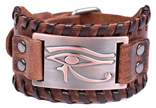 TEAMER Vintage Amulet Eye of Horus Leather Bracelet Cuff Bangle Egyptian Talisman Pagan Jewelry (Antique Copper,Brown) ()