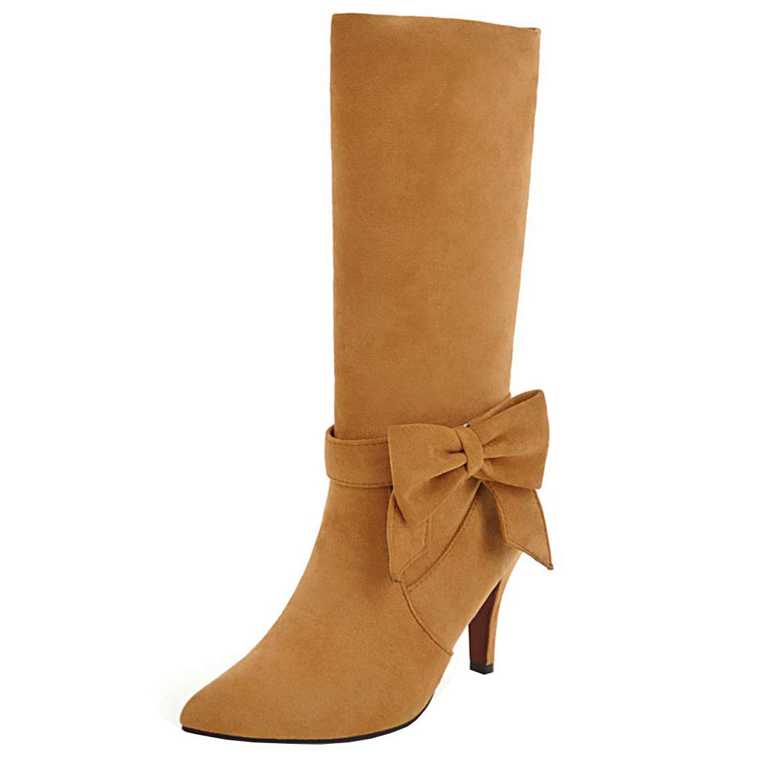 YE Rockabilly Chaussure Sweet Longue Botte Mi Mollet Stretch Jaune Fourrure 18272 Femme Bout Pointu Talon Haut Aiguille avec Noeud Rockabilly Jaune 9e11270 - reprogrammed.space