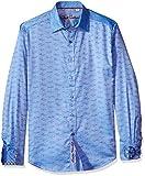 Robert Graham Men's Car Rally L/s Classic Fit Shirt, Blue, Large