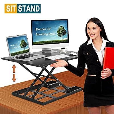 "Slendor Air Rise Standing Desk Converter 32"" x 22"" Extra Large Sit to Stand Height Adjustable Desk Converter Work Station Easy Lift"